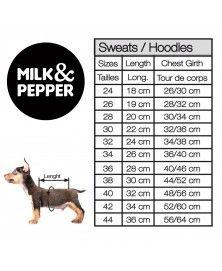 Guide des tailles sweat pour chien Milk&Pepper