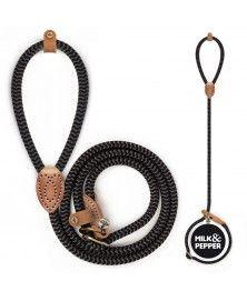 Black Lasso Django leash for dogs - Milk&Pepper